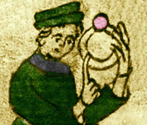 Heinrich Wittenwiler in einer Zeichnung seines Manuskripts