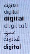 Digitale Schrift ohne Anti-Aliasing