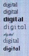 Digitale Schrift mit etwas Anti-Aliasing