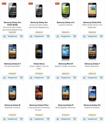Aktuelle Galaxy Smartphones von Samsung mit Android