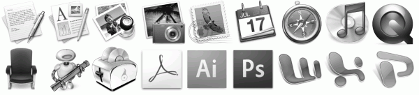 Nur noch wenige Programm-Icons enthalten das schräg gestellte Quadrat als Basis-Form.