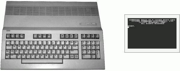 Beim Start zeigte der Commodore 128 eine Eingabeaufforderung für das integrierte Basic 7.