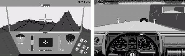 """Bereits auf dem Commodore 64 waren Live-Vektorgrafiken möglich: In """"Rescue on Fractalus"""" und """"Testdrive"""" wurde die Spielumgebung jeweils live berechnet."""