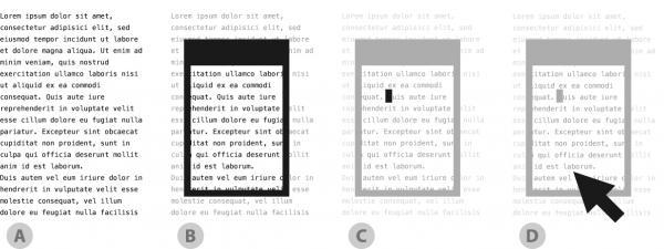 Um Text innerhalb einer GUI darzustellen, sind mehrere Konzept-Ebenen nötig.
