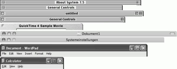Über die Jahre wandelten sich die Fenstertitel von Macintosh und Windows