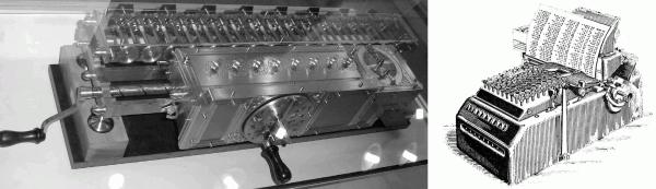 Nachbau der Leibniz-Rechenmaschine und eine mechanische Rechenma- schine von . [Abbildungen: Wikipedia]