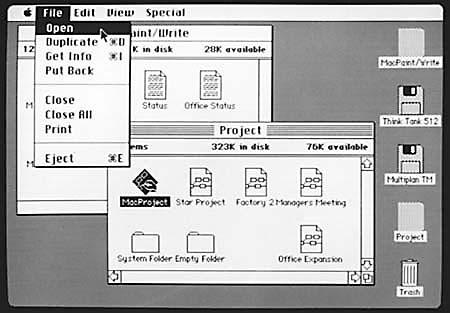 Menüs, Fenster, Windows und Mauszeiger bildeten die Basis des ersten Macintosh 1984 – und seitdem aller grafischen Benutzeroberflächen.