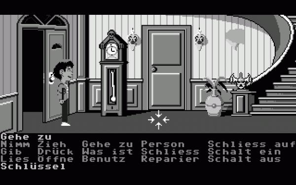 """Das Adventurespiel """"Maniac Mansion"""" demonstriert die Verbindung von Textbefehlen in einer grafischen Oberfläche."""