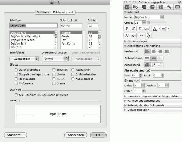 Einstellungen in Paletten werden ohne extra Klick direkt angewandt.