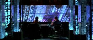 """Screenshot """"Hackers"""": Bunte Welten symbolisieren die Dateistrukturen auf dem Gibson-Großrechner"""