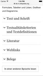 """Der Wikipedia-Beitrag zu """"Text"""" listet die Textstruktur nach der Begriffsdefinition auf."""