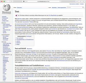 """Ansicht des Wikipedia-Eintrags zu """"Text"""" in der normalen Browseransicht."""
