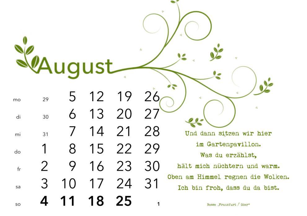 Kalender 2019 August: Ich bin froh, dass du da bist
